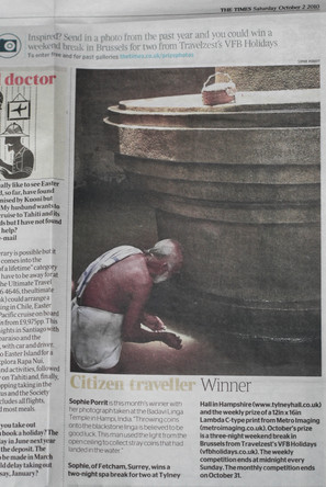 Winner of The Times travel competition