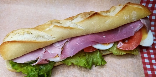 sandwich crudité jambon sauce mayonnaise