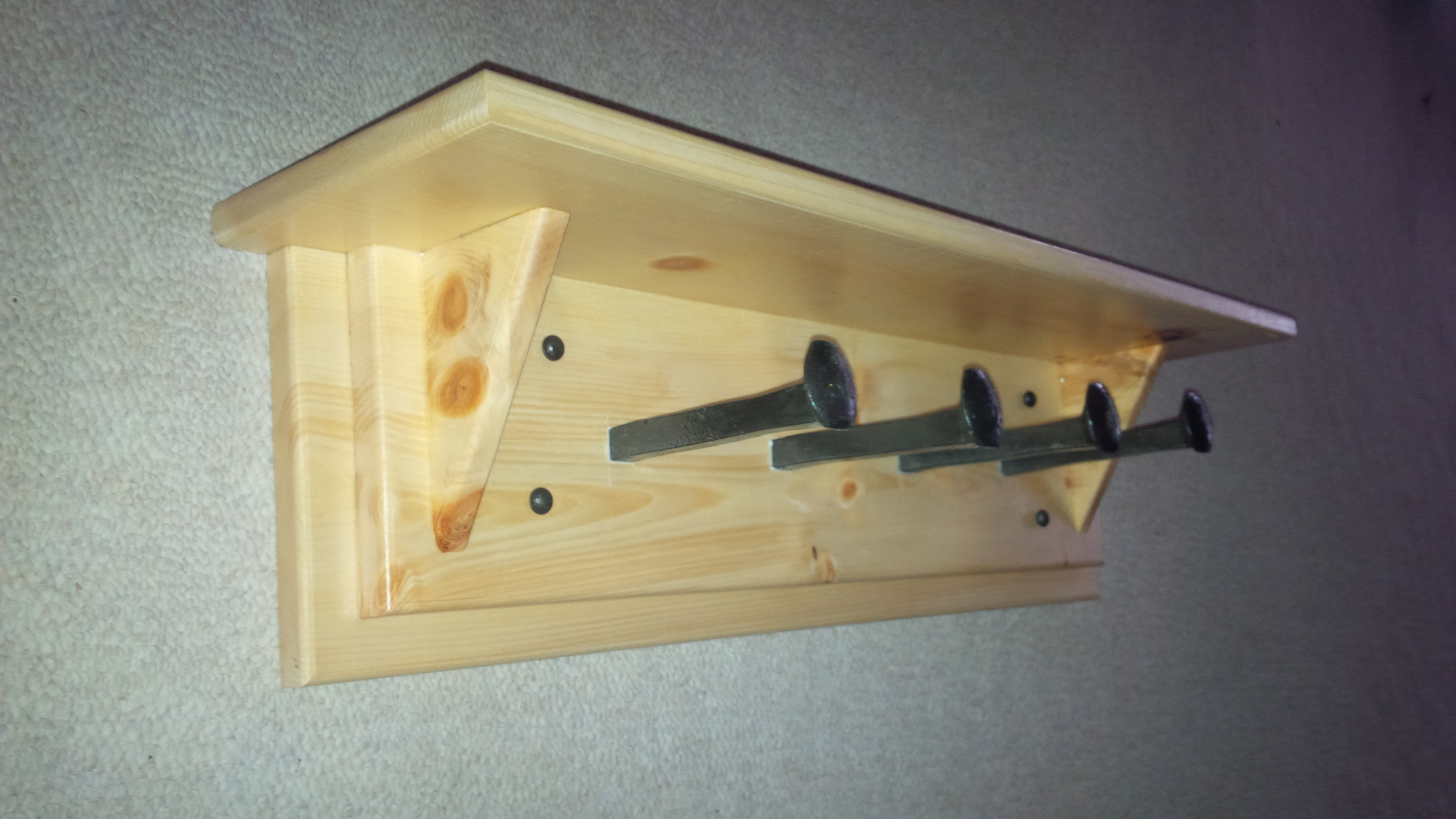 Pine Coat Rack and Shelf