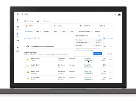 Google's latest sustainability push? Showing carbon emissions for flights in search results