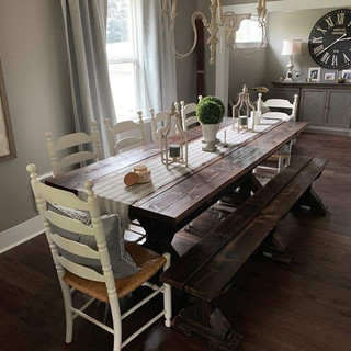 Mr. Dam built this farmhouse table and b