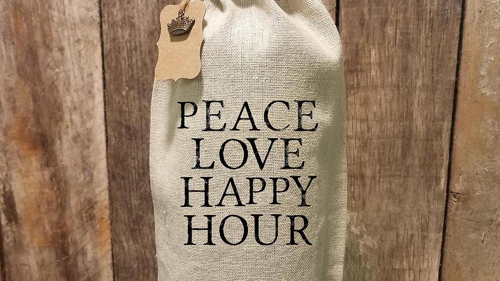 Peace Love Wine Bag