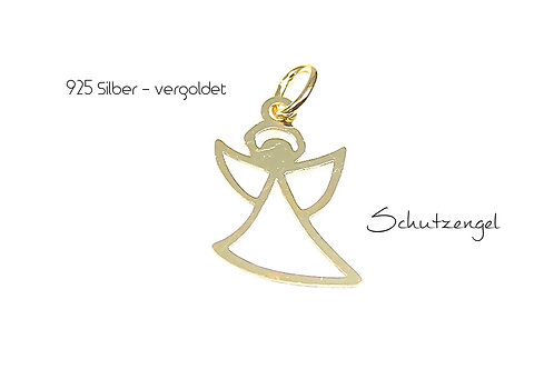 Anhänger - 925 Silber Schutzengel -vergoldet