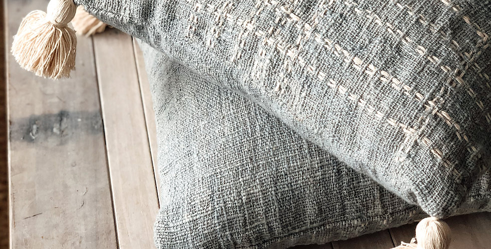 Pale Blue Cushion Cover with Hand Embroidered detail