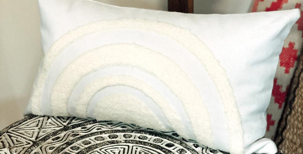 White Rainbow Oblong Cushion Cover
