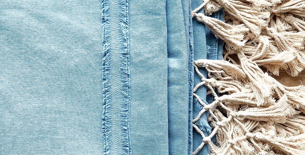 Blue Macrame Queen Bedspread