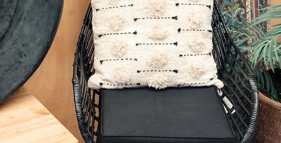 Black Stitched Pom Pom Cushion Cover