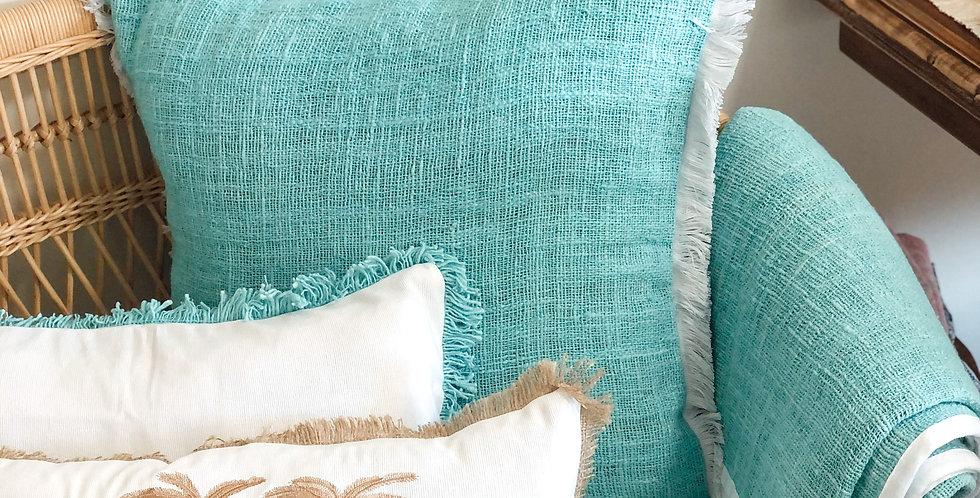 Aqua Cushion With White Fringing