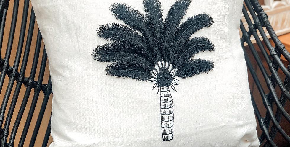 Black Coco Palm Cushion Cover