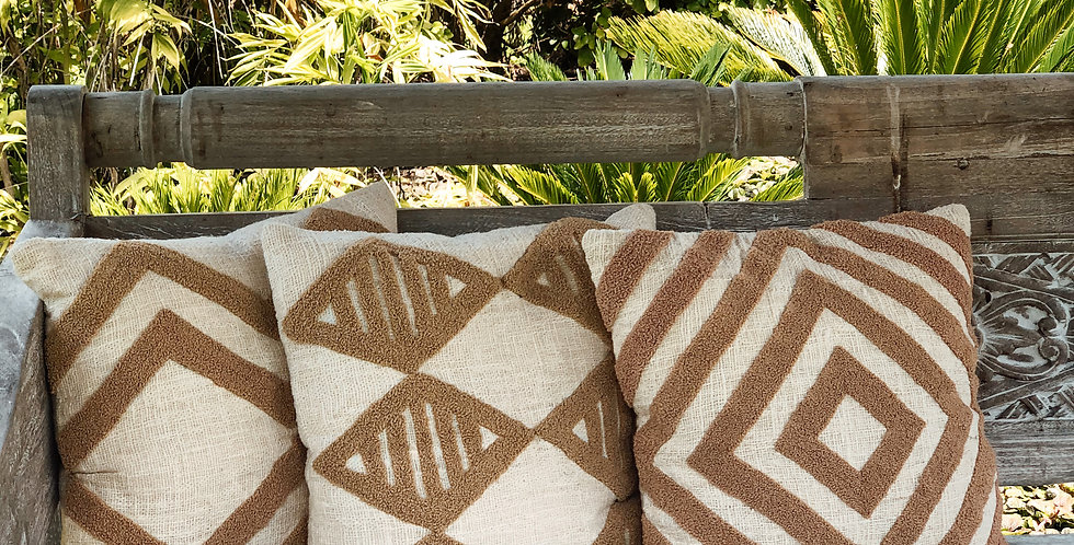 Large Stripe Embroidered Cushion Cover