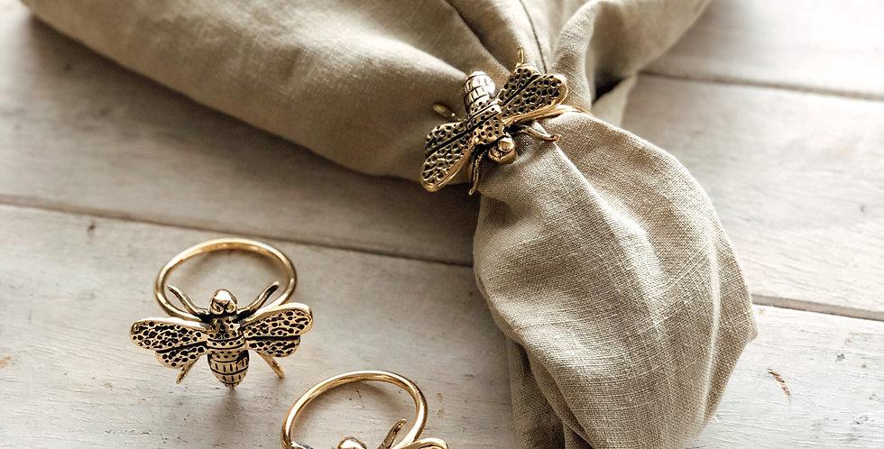 Brass Bee Napkin Rings