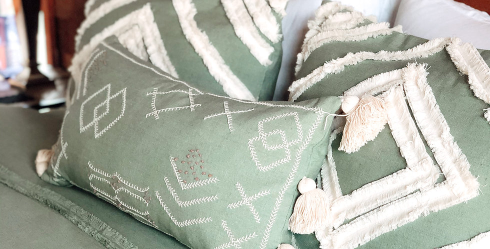 Tufted Pillowcase Covers - Sage Green