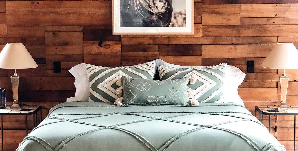 Macrame Queen Bedspread - Sage Green