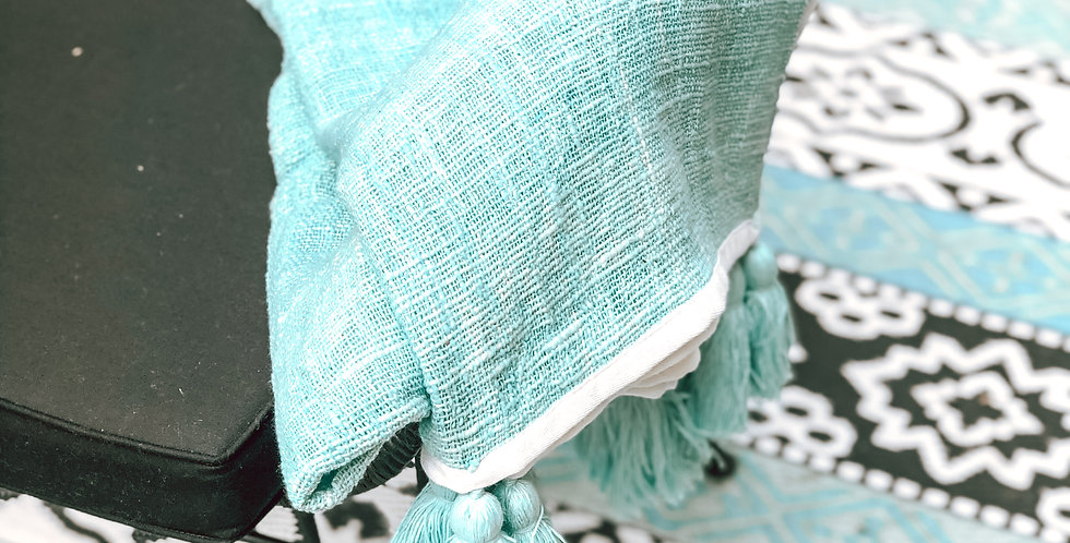 Aqua Throw With White Edging