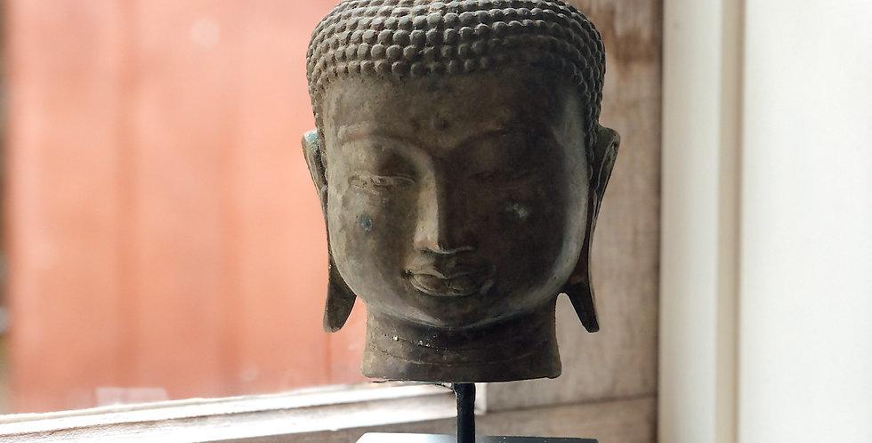 Brass Buddha Head on Plinth