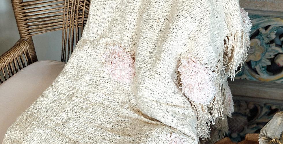 Irish Throw with Pink & White Pom Poms