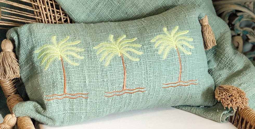 Tara Green Palm Cushion Cover