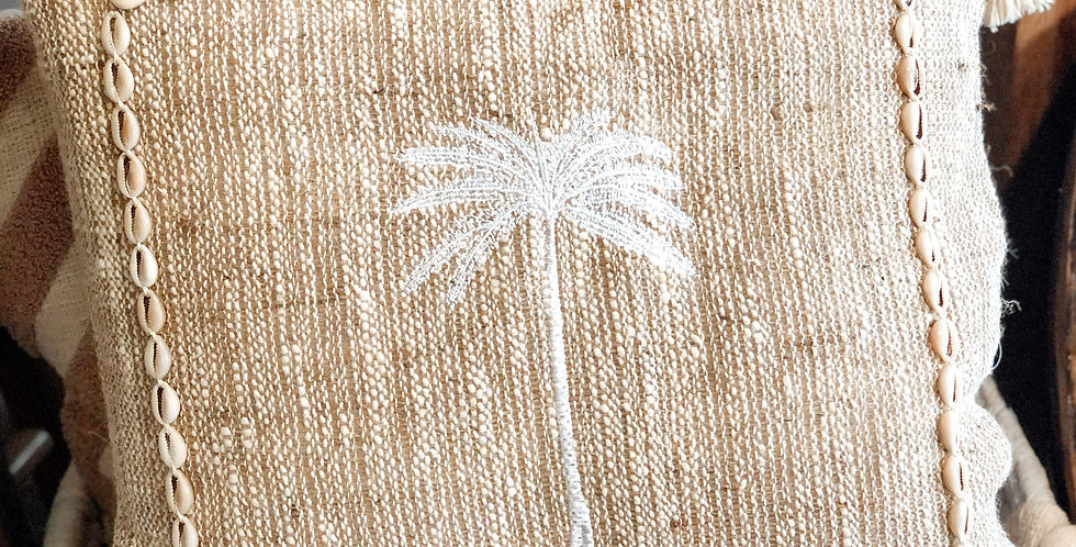 Sindu Single Palm Cushion Cover with Shells