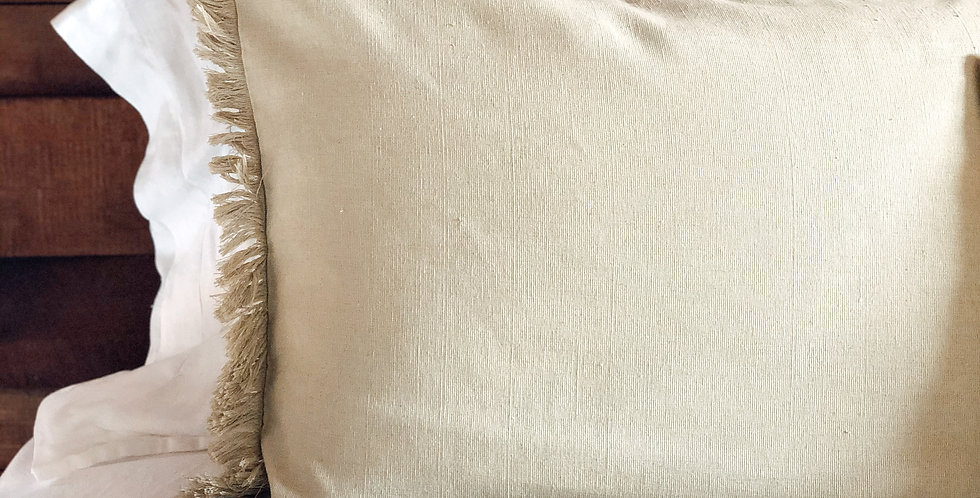 Pillowcase With Fringing - Sage Green