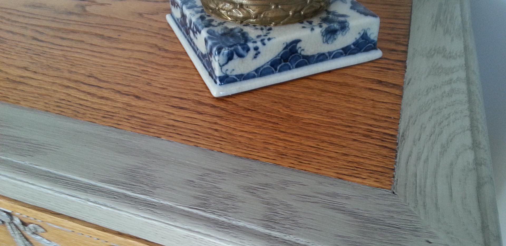 Plateau bois naturel et patine grise