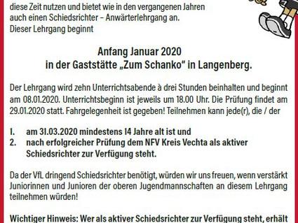 Schiedsrichter-Anwärterlehrgang 2020