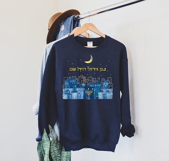The Ultimate Chanukah Sweater - Crew in classic navy