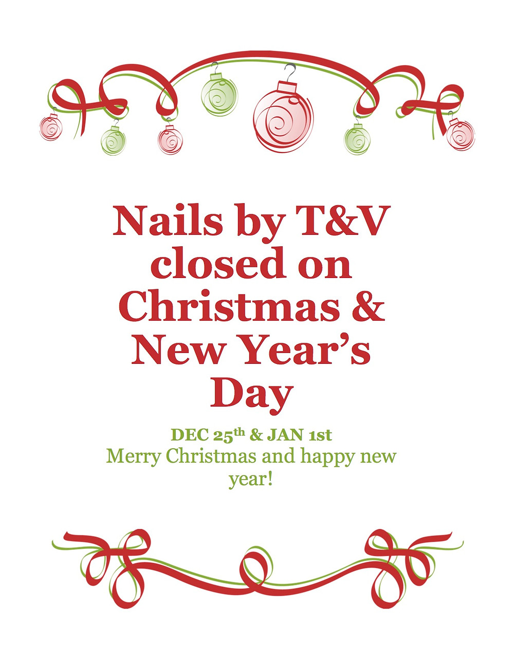 Happy holidays! Thank your for all of the love and support. Merry Christmas and Happy New Year from our Nails By T&V family to yours.