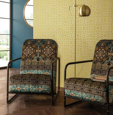 velluto stampato con decori barocchi