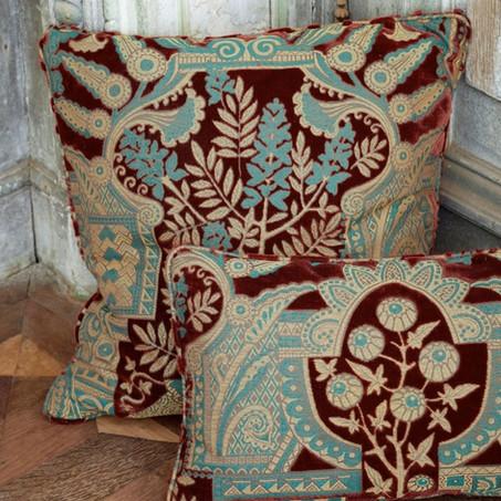 velluto a rilievo turchese e bordeux