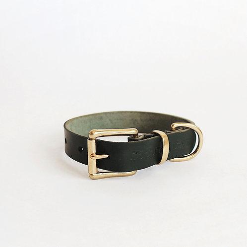 Pine Green Leather Collar