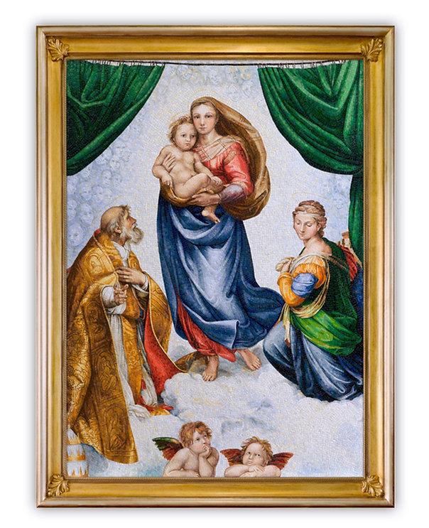 Riproduzione in mosaico Madonna Sistina di Raffaello
