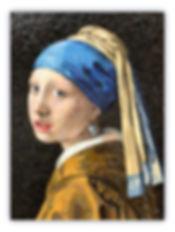 Riproduzione in mosaico Ragazza con l'oreccino di Perla di Jan Vermeer