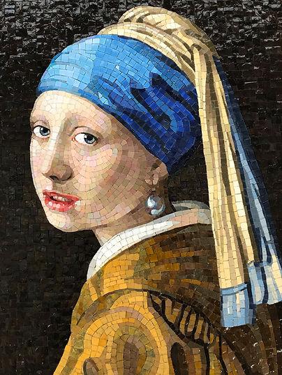 La ragazza con orecchino di perla in mosaico