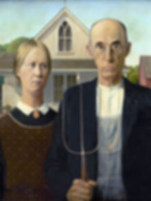 Original Painting American Gothic by Grant Wood