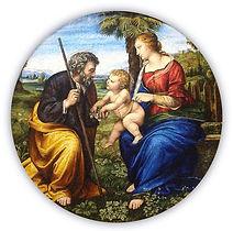 Sacra Famiglia con Palma Riproduzione in Mosaico