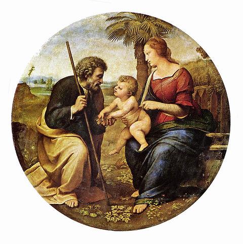 Dipinto Sacra Famiglia con Palma di Raffaello