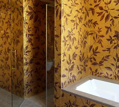 Golden bathroom with venetian enamels and gold leaf mosaic