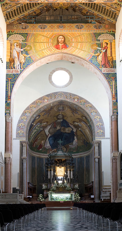 Venetian Gold Mosaic on the Triuphal Arch - Duomo of Messina
