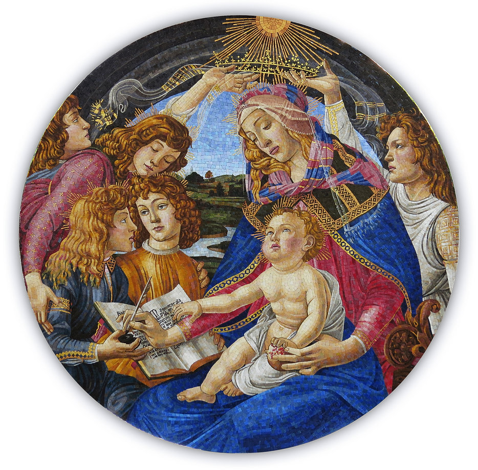 Madonna Magnificat Botticelli Mosaic Reproduction