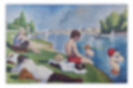 Bathers at Asnieres Seurat Mosaic Reproduction