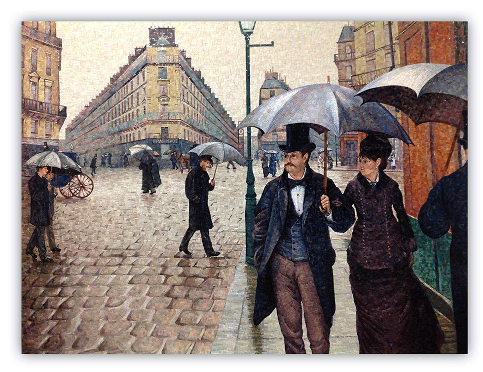 Riproduzione artistica in mosaico Di strada di Parigi di Cailebotte