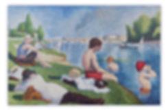 Micro mosaic Art Composition Bathers at Asnieres Seurat
