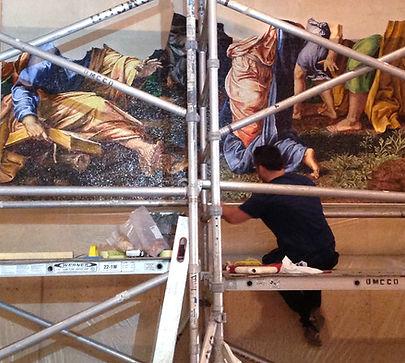 Posa in opera della riproduzione artistica in mosaico
