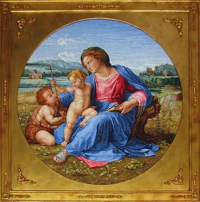 Riproduzione in Mosaico Madonna d'Alba Raffaello