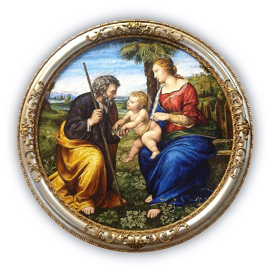 Mosaic Reproduction Holy Family with Palm Raphael