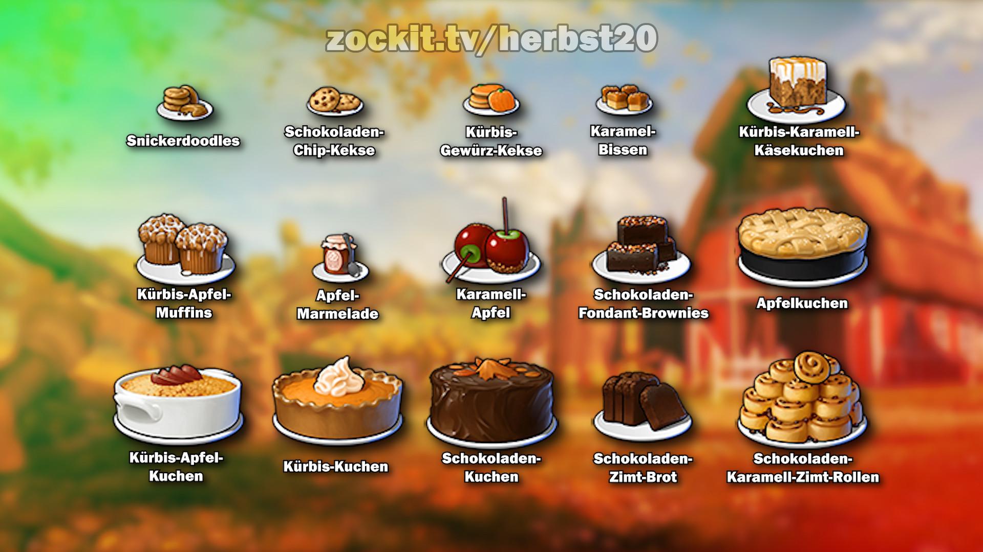 Herbst Event 2020 - Liste der Gebäcke