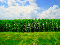 Jeff Disappearing into the Cornfield