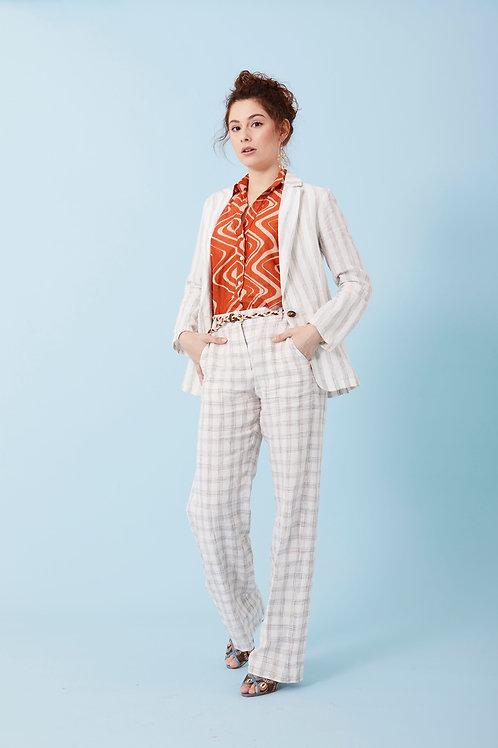 Pantalone a quadri in lino