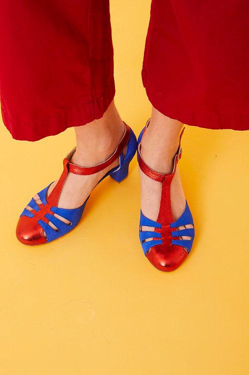 Sandali in camoscio e pelle laminata
