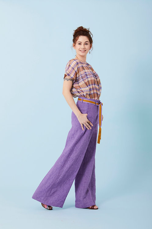 Pantaloni palazzo in lino